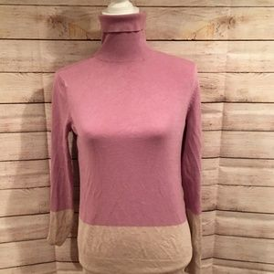 Ann Taylor Factory Two-Tone Pink Turtle Sweater M